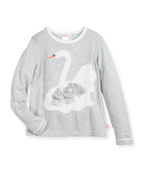 Fuzzy Knit Swan Sweater, Size 4-8