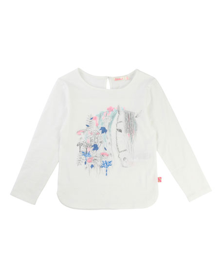 Horse Graphic Jersey T-Shirt, Size 4-8