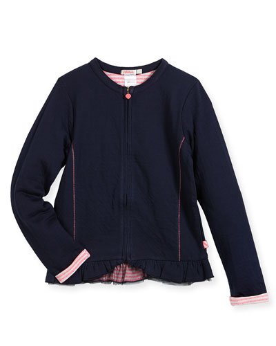 Jersey Tubic Zip Cardigan, Size 4-8
