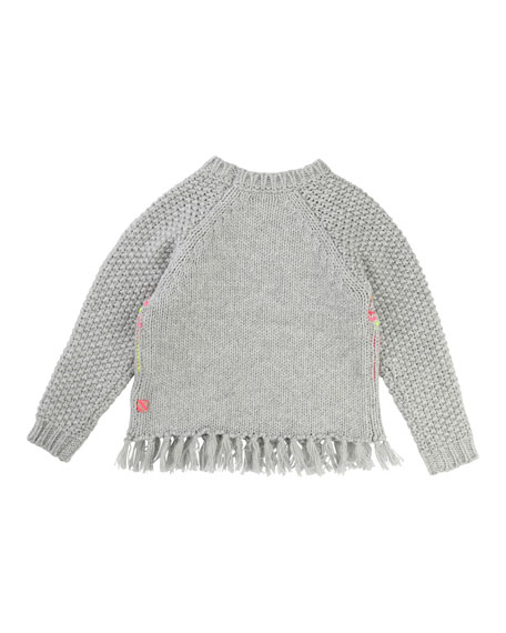 Knit Sweater w/ Knotted Fringe Hem, Size 4-8