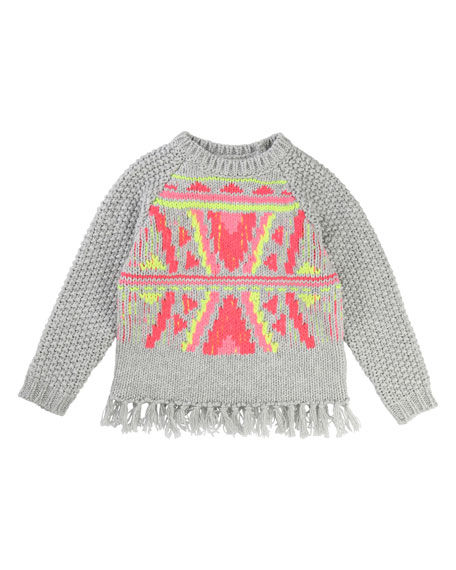 Billieblush Knit Sweater w/ Knotted Fringe Hem, Size