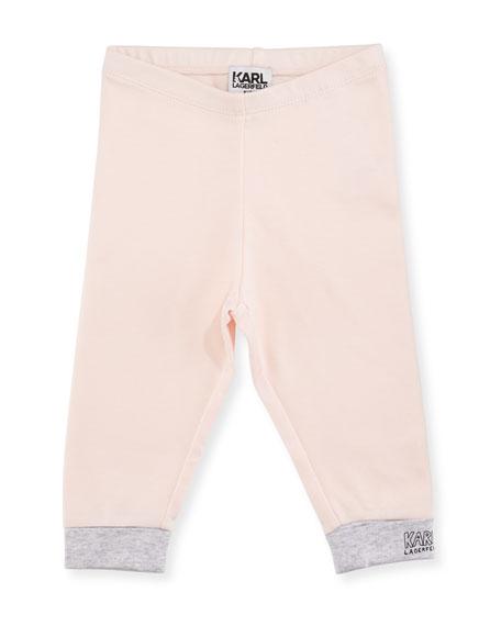 Two-Tone Jersey Logo Leggings, Size 3-12 Months