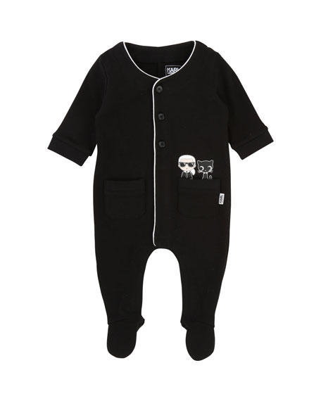 Karl Lagerfeld Front-Snap Footie Pajamas w/ Pockets, Size