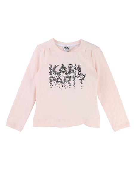Karl Lagerfeld Karl Party Sequin T-Shirt, Size 2-5