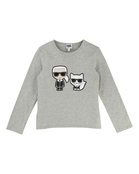 Karl Lagerfeld Karl & Choupette Front-Back Graphic Tee,