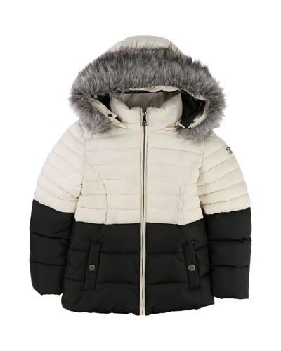 Two-Tone Puffer Jacket, Size 6-10