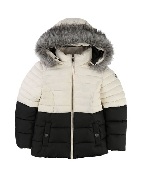 Karl Lagerfeld Two-Tone Puffer Jacket, Size 6-10