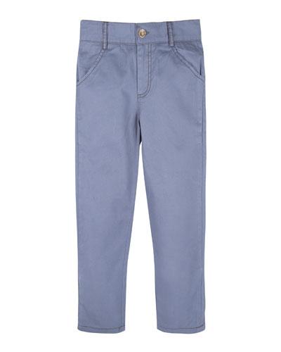 Twill Straight-Leg Pants, Blue, Size 2-7