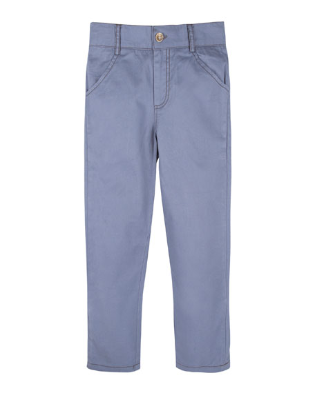 Twill Straight-Leg Pants, Blue, Size 2-7