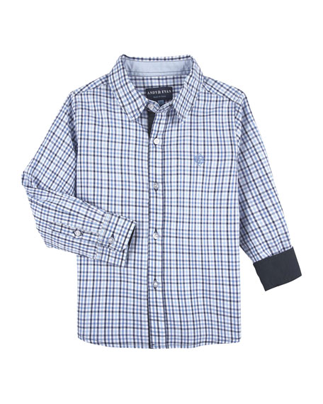 Andy & Evan Checkered Dressy Button-Down Shirt, Size