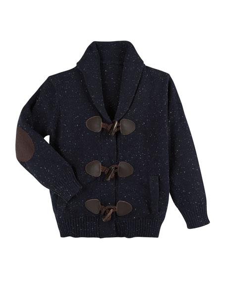 Slub-Knit Toggle Cardigan, Size 2-7