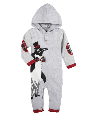 Christmas Penguin Hooded Coverall, Size 3-24 Months