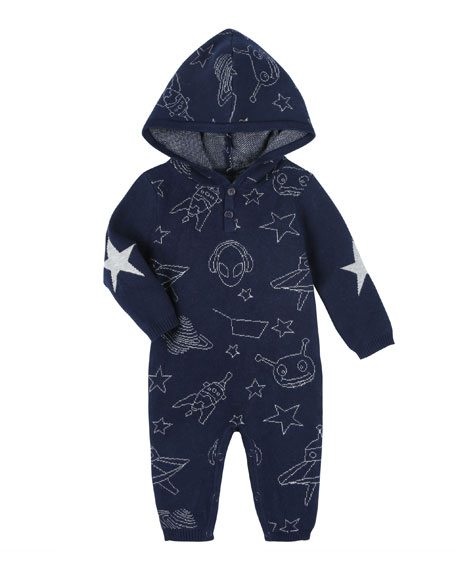 Allover Space Print Hooded Coverall, Size 3-24 Months