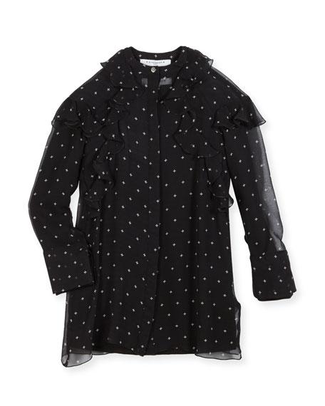 Givenchy Cross Printed Ruffle Dress, Size 4-5