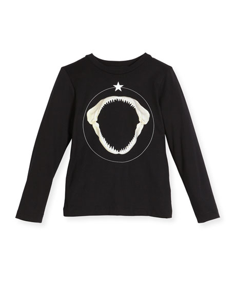 Long-Sleeve Shark Graphic T-Shirt, Size 6-10
