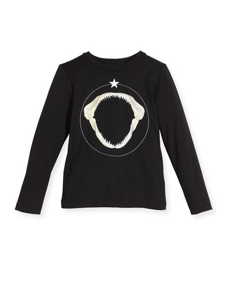 Long-Sleeve Shark Graphic T-Shirt, Size 12-14