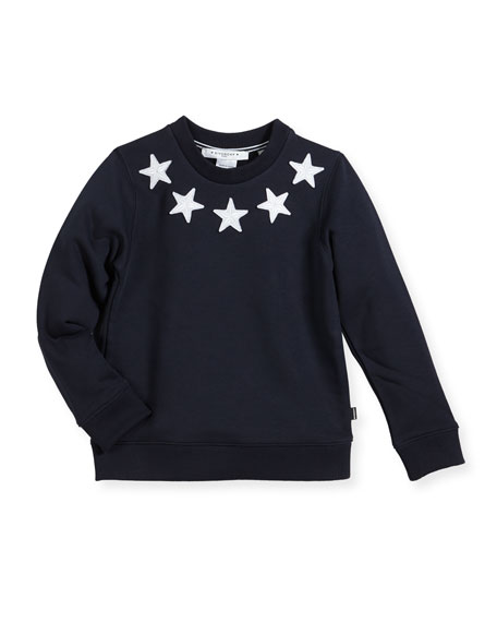 Boys' Crewneck Sweatshirt w/ Star Patches, Size 6-10