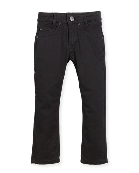 Givenchy Jeans w/ Faux-Leather Trim, Black, Size 4-5