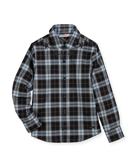 Givenchy Long-Sleeve Checkered Star Button-Down Shirt, Size 6-10