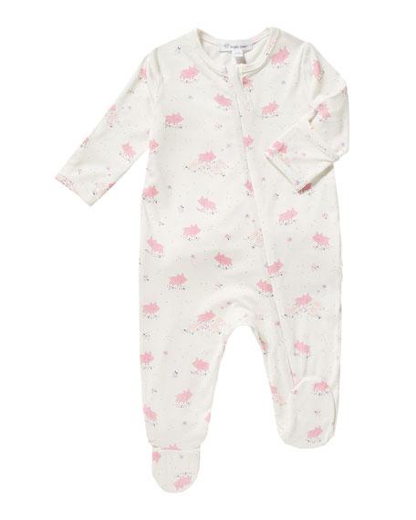 Piggies-Print Zip Footie Pajamas, Size 0-12 Months