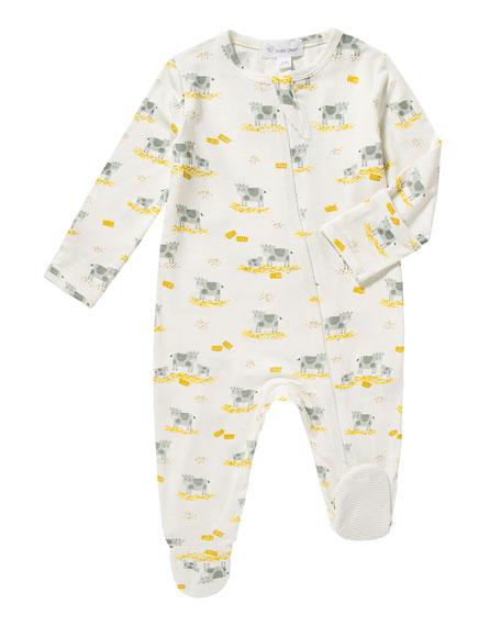 Angel Dear Cow-Print Zip Footie Pajamas, Size 0-9