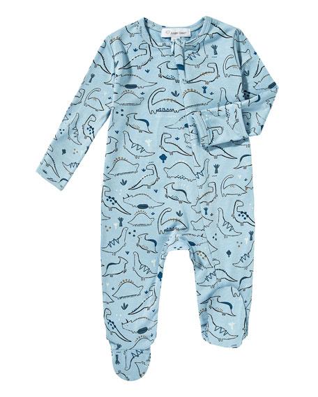 Dino-Print Zip Footie Pajamas, Size 0-9 Months