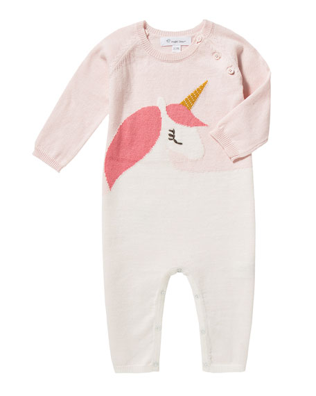 Unicorn Intarsia Knit Coverall, Size 0-12 Months