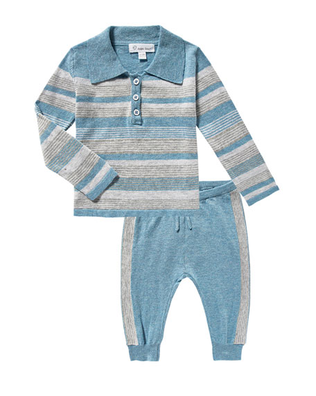 Take Me Home Multi-Stripe Polo w/ Joggers, Size 3-18 Months