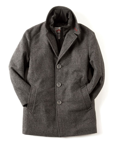 Herringbone City Overcoat, Size 2T-10