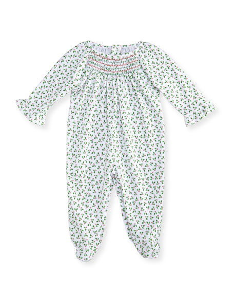 Kissy Kissy Holly N Berries Printed Footie Pajamas,