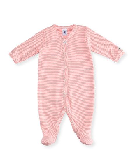 Striped Footie Pajamas w/ Front Snaps, Size Newborn-9M