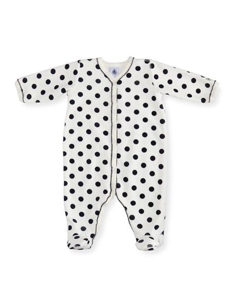 Petit Bateau Velour Polka-Dot Front Snap Footie Pajamas,