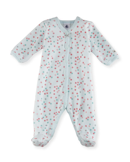 Petit Bateau Velour Multi-Dot Footie Pajamas, Size 1-9