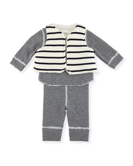 Petit Bateau Long-Sleeve Striped Layette Set, Size 1-18