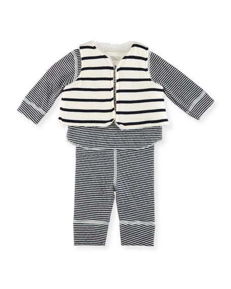 Petit Bateau Long-Sleeve Striped Layette Set, Size 1-18