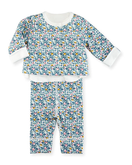 Petit Bateau Three-Piece Printed Layette Set, Size 1-18