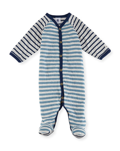 Mixed-Striped Footie Pajamas, Size 1-9 Months