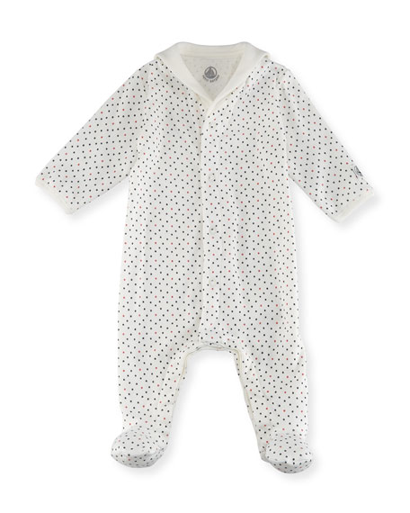 Petit Bateau Tiny Star-Print Cotton Footie Pajamas, Size