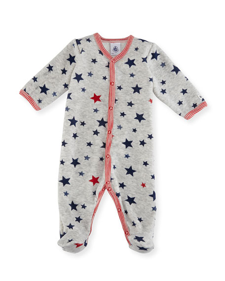 Velour Star-Print Footie Pajamas, Size 1-9 Months