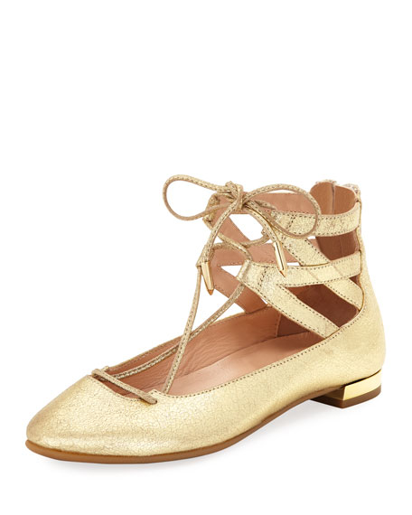 Aquazzura Belgravia Mini Leather Ballerina Flat, Toddler