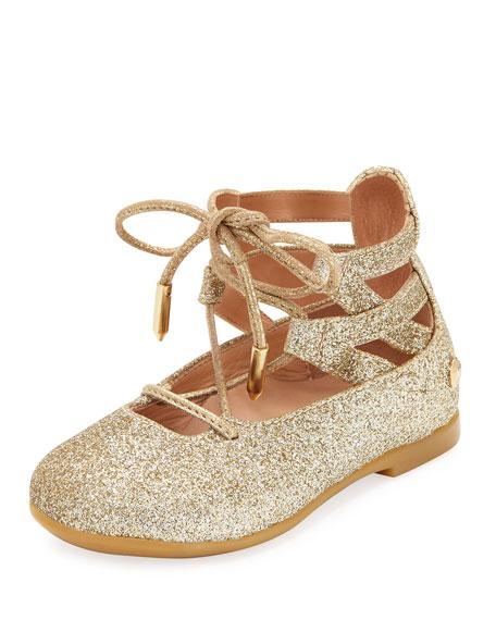 Aquazzura Belgravia Baby Glittered Ballerina Flat, Gold,
