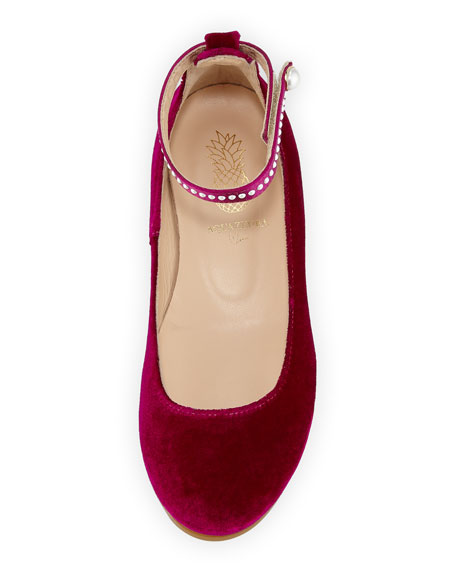 Alix Velvet Ballet Flat w/ Pearly Trim, Toddler/Youth Sizes 11T-2Y