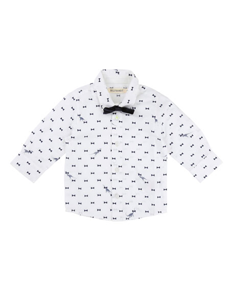 Billybandit Bow Tie Dino-Print Button-Down Shirt w/ Bow