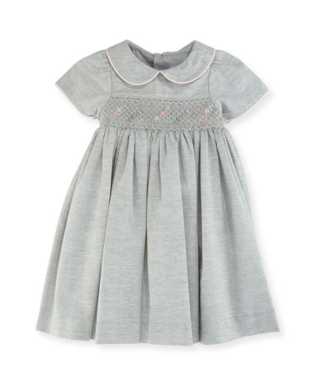 Luli & Me Smock Dress w/ Flower Detail,
