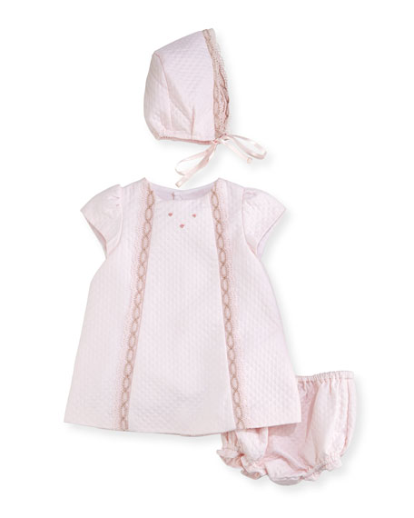 Luli & Me Quilted Pique Layette Set, Size