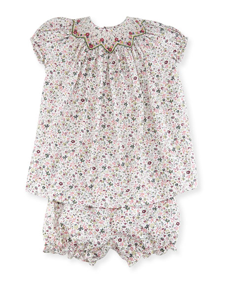 Floral Bishop Dress w/ Bloomers, Size 12-24 Months