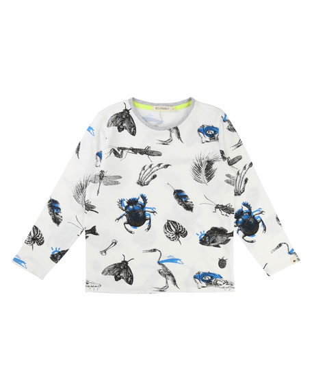 Billybandit Long-Sleeve Allover Bug & Leaf Print T-Shirt,