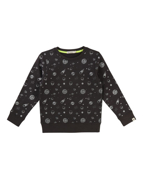 Allover Space-Print Sweatshirt, Size 4-8