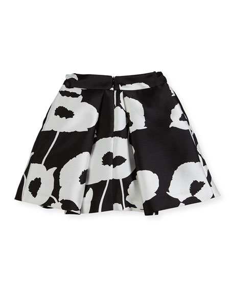 Poppy Floral-Print Pleated Skirt, Size 8-16