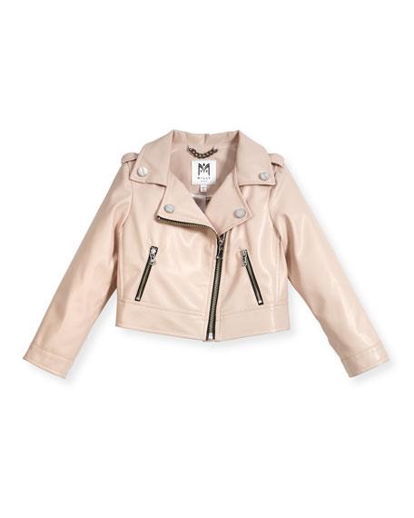 Milly Minis Vegan Leather Moto Jacket, Size 8-16